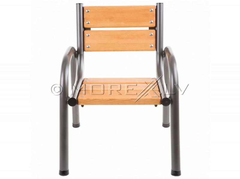 Sodo kėdė su medine sėdyne, 65x74x86 cm