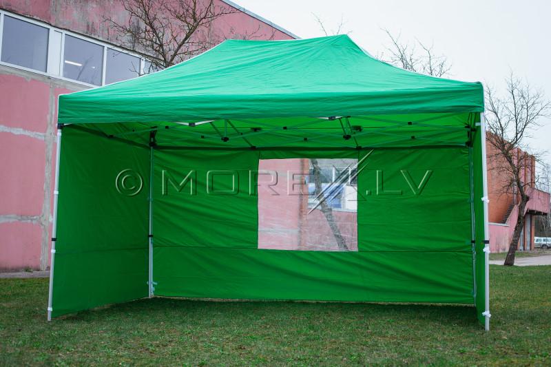 Pop Up sulankstoma tentas 3x4,5 m, su sienomis, žalia, X serijos, aliuminis (palapinė, paviljonas, tentas)