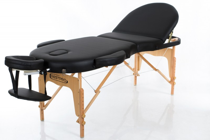 RESTPRO® VIP OVAL 3 BLACK sulankstomas masažo stalas