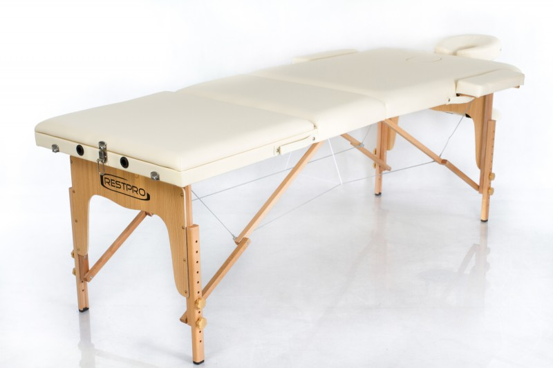 RESTPRO® Classic-3 Cream Portable Massage Table + Massage Bolsters