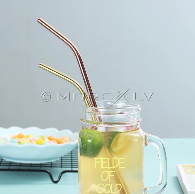 Metaliniai gėrimų šiaudeliai, spalvoti (8 vnt)