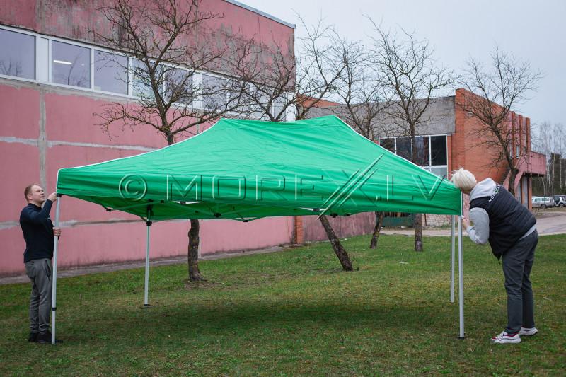 Pop Up sulankstomas tentas 3x4.5 m, be sienų, žalias, X serijos, aliuminis (palapinė, paviljonas, baldakimas)