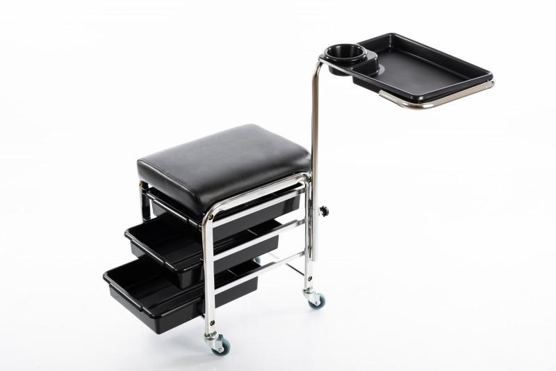 Profesionali pedikiūro kėdutė su lentynomis ir padėklu