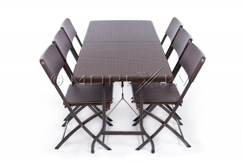 Rotango dizaino sulankstomas stalas 180x72 cm + 6 kėdė