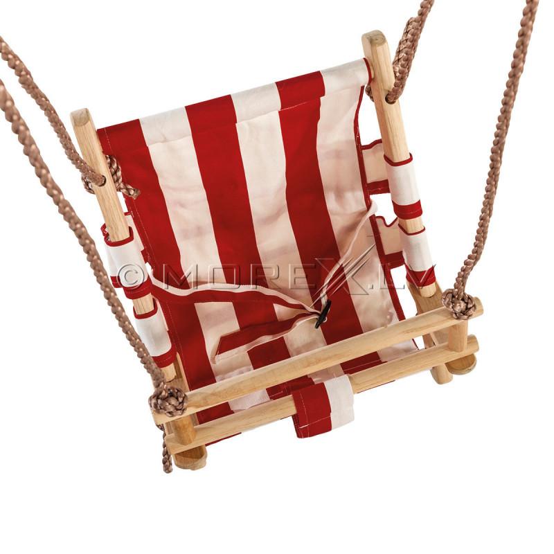 Vaikiškos medinės supynės iš audinio  45x31 cm, КВТ raudonai baltos