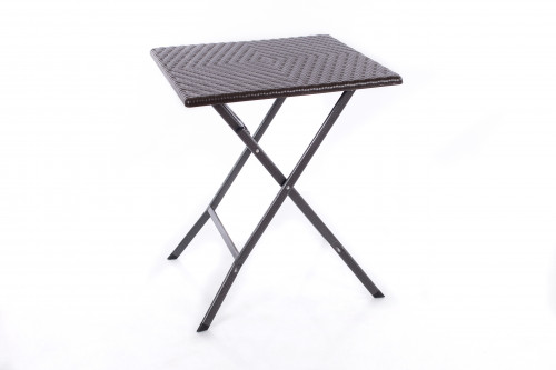 Square plastic folding table with a rattan design 62x62x74 cm
