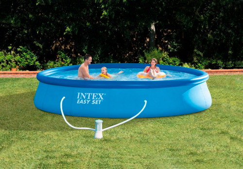 Pripučiamas baseinas Intex Easy Set Pool 396x84 cm, su filtruojančiu siurbliu (28142)