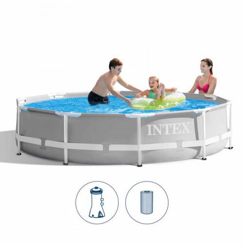 Karkasinis baseinas Intex Prism Frame Premium Pool Set 305x76 cm, su filtruojančiu siurbliu (26702)