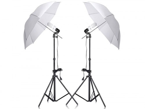 Komplektai 2x85W, 2X Umbrella, 2 Light Stands (foto_02899)