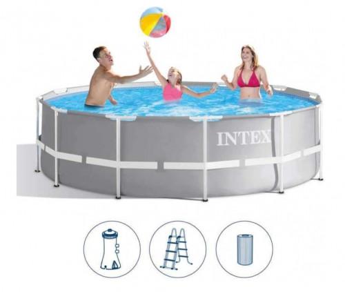 Karkasinis baseinas Intex Prism Frame Premium Pool Set 366x99 cm, su filtruojančiu siurbliu ir priedais (26716)