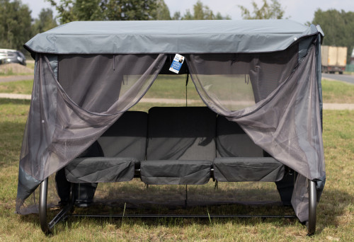 VENEZIA sodo sūpynės D002-06PB 220x140 cm, 3-seat, pilkos