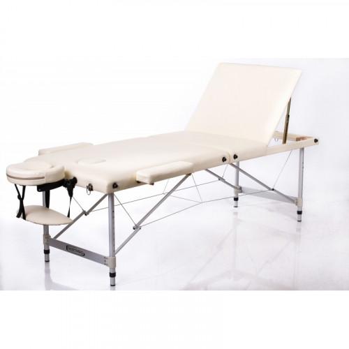 RESTPRO® ALU 2 M Cream Set masažo stalas + masažiniai voleliai (rinkinys)