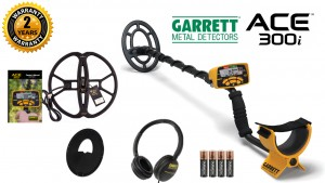 "Garrett Ace 300i Metal Detector with 7x10"" PROformance Search Coil + NEL Tornado Waterproof Search Coil 12""x13"" Garrett ACE (N02-0004)"