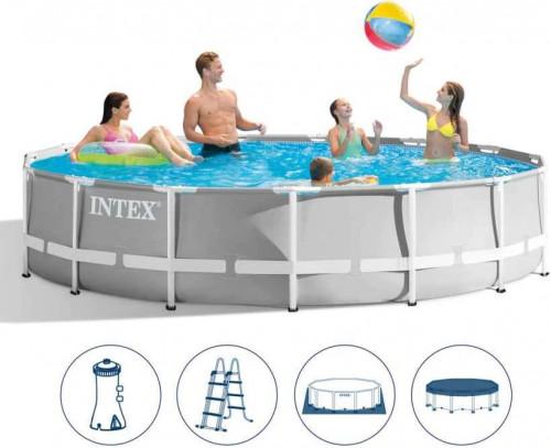 Karkasinis baseinas Intex Prism Frame Premium Pool Set 427x107 cm, su filtruojančiu siurbliu ir priedais (26720)