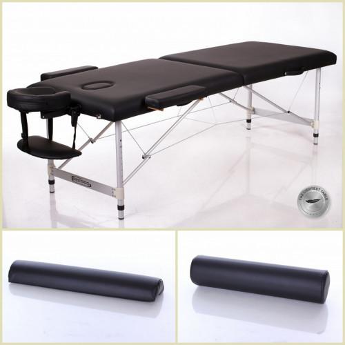 RESTPRO® ALU 2 L Black Set masažo stalas + masažiniai voleliai (rinkinys)