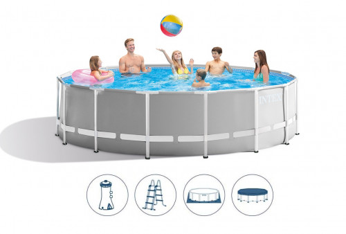 Karkasinis baseinas Intex Prism Frame Premium Pool Set  457x122 cm, su filtruojančiu siurbliu ir priedais (26726)