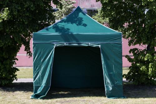 Pop Up sulankstoma tentas 3x3 m, su sienomis, žalia, X serijos, aliuminis (palapinė, paviljonas, tentas)