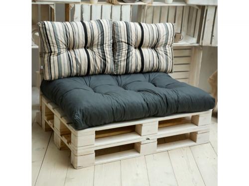 Čiužinys ir pagalvės lovai iš palečių, 120x80 cm, pilki