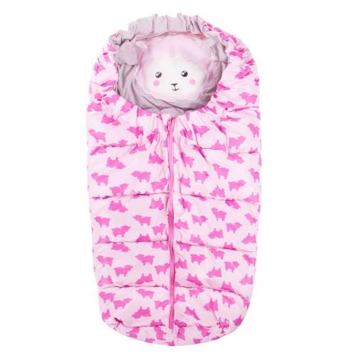 Vaikiškas miegmaišis pasivaikščiojimams SB007, rožinės spalvos su piešinėliu