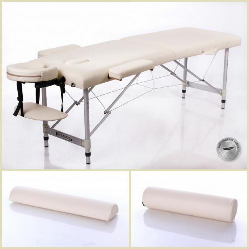 RESTPRO® ALU 2 S kremo Set masažo stalas + masažiniai voleliai (rinkinys)