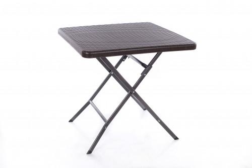 Sulankstomas kvadratinis rotango dizaino stalas 78x78x74 cm