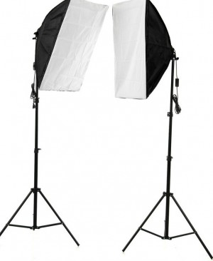 Komplektai 2 x Monohead 85W, 2X Softbox 50x70cm, 2 light stand (foto_03689)