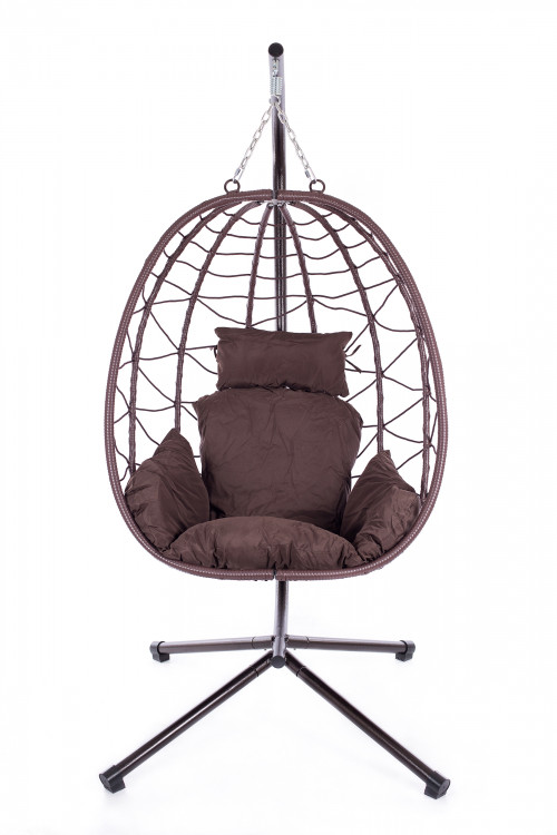 Foldable hanging egg chair with stand
