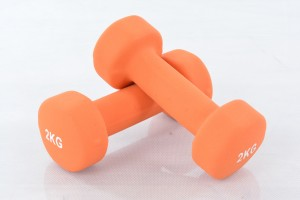 Two vinyl dumbbells 2kg
