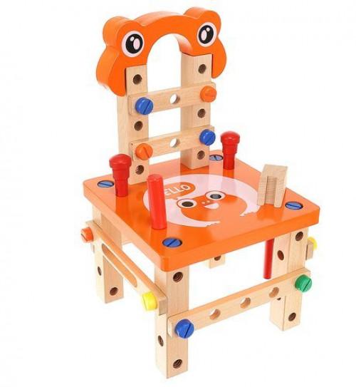 Vaikiškas medinis konstruktorius Kėdė, 3in1 (9441)