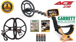 "Garrett Ace 250 Discovery Pack Metal Detector with 6.5x9"" PROformance Search Coil + NEL Tornado Waterproof Search Coil 12""x13""​"