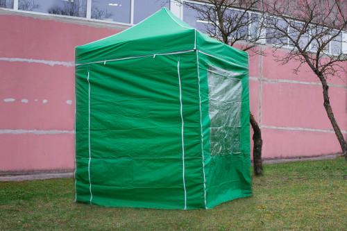 Pop Up sulankstoma palapinė 2x2 m, su sienomis, žalia, H serijos, plieninė (palapinė, paviljonas, baldakimas)