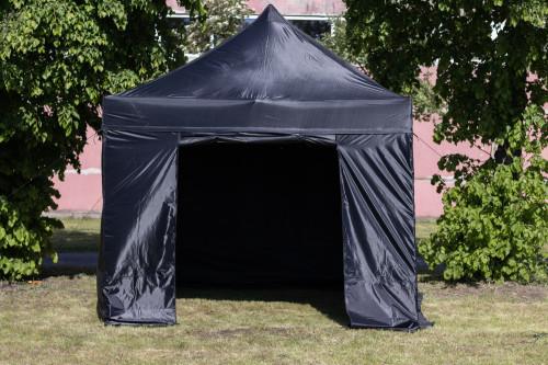 Sulankstomas tentas su sienomis ir stogu  3x3 m, X serijos (juoda, aliuminio karkasas, poliesteris 600D PU)