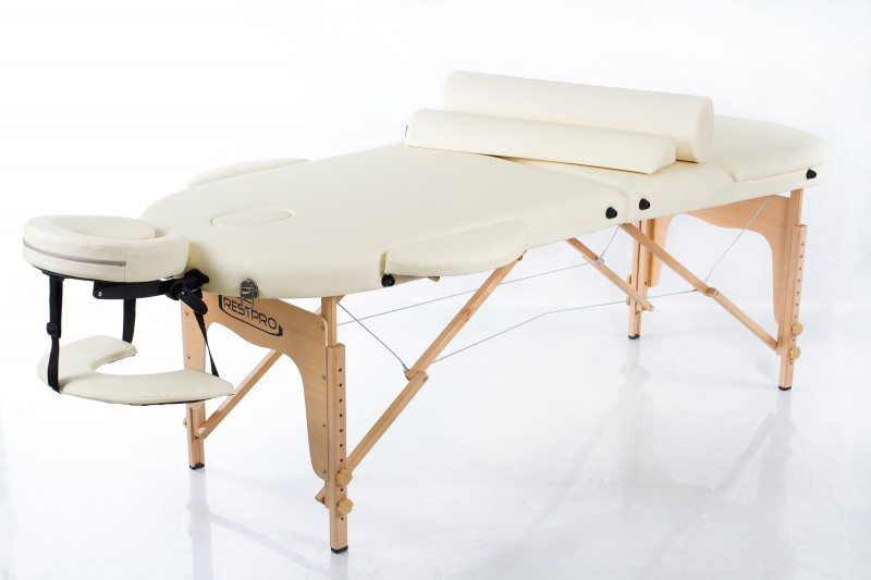 RESTPRO® Classic Oval 3 Cream Massage Table + Massage Bolsters