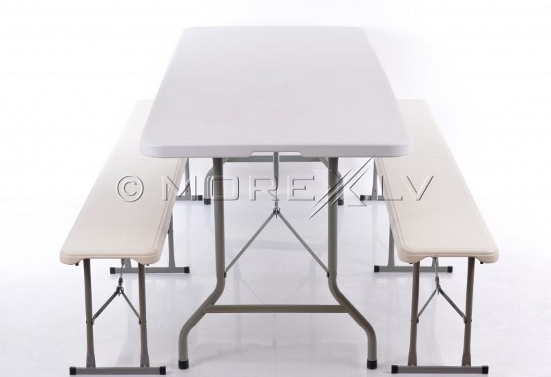 Sulankstomas staliukas 183x76cm + 2 Sulankstomas suolelis