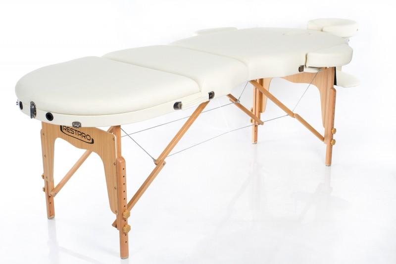 RESTPRO® VIP OVAL 3 CREAM Massage Table + Massage Bolsters